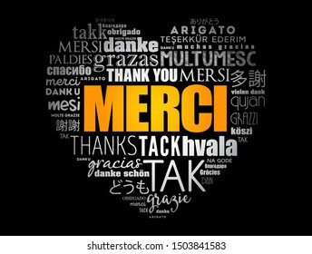Merci (Thank You in French) love heart word cloud in different languages