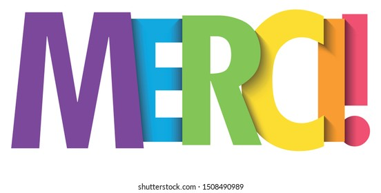 MERCI! (THANK YOU! in French) rainbow typography banner