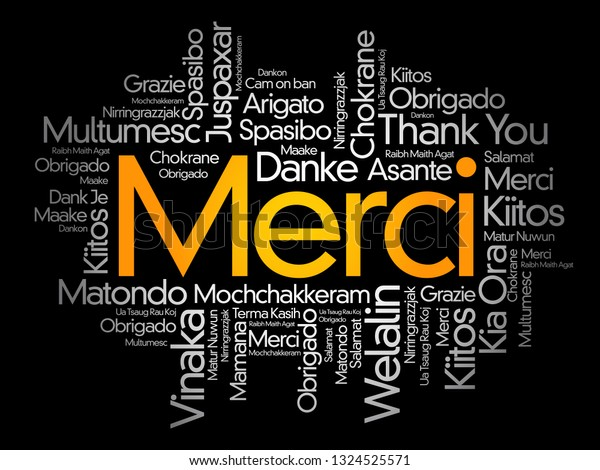 Merci Thank You French Word Cloud Stock Vector Royalty Free