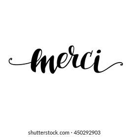 Merci. Vector hand lettering.