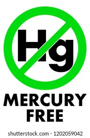 Mercury free icon. Letters Hg (chemical symbol) in green crossed circle, with text under.