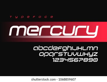Mercury futuristic sports font design, alphabet, typeface, letters and numbers, typography. Swatch color control.
