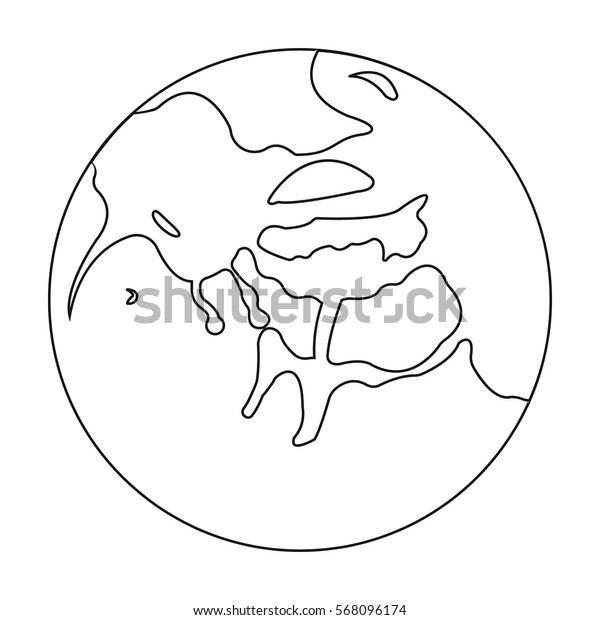Mercury icon in outline style isolated on white background. Planets symbol stock vector illustration.