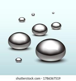 Mercury liquid bubbles on gradient background.