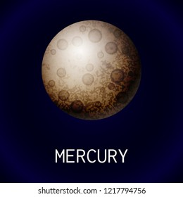 Mercury planet icon. Cartoon of mercury planet vector icon for web design