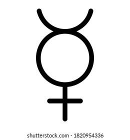 Mercury planet symbol. Vector sign. Astrological calendar. Zodiacal black and white horoscope. Outline illustration. Jyotisha. Hinduism, Indian or Vedic astrology