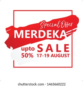 Merdeka, banner special offer sale during Indonesian independence day at 17th August 2019. vector illustration