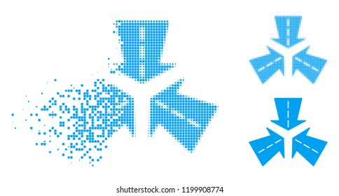 Merge directions icon in dissolved, dotted halftone and undamaged whole versions. Points are grouped into vector disappearing merge directions icon. Disintegration effect uses square points.
