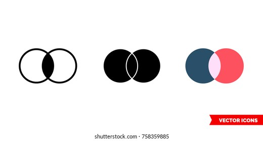 Merge icon of 3 types: color, black and white, outline. Isolated vector sign symbol.
