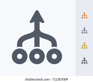 Merged Arrows - Carbon Icons. A professional, pixel-aligned icon.