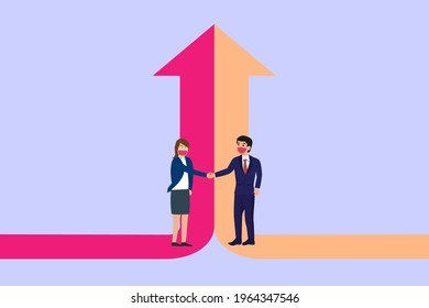 Merger and Acquisition vector concept. Businessman and businesswoman shaking hand together with two arrows rising up, background
