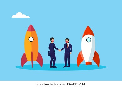 Merger and Acquisition vector concept. Businessmen shaking hands together with startup rocket background