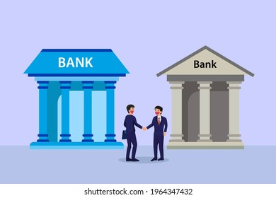 Merger and Acquisition vector concept. Two businessman shaking hands together with bank office background