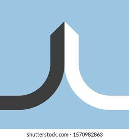 Merger, joining, integrating and partnership concept. Black and white halves merging and forming minimalistic arrow on pale blue. Flat design. Vector illustration, no transparency, no gradients