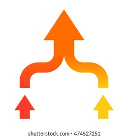 Mergers and acquisitions concept with arrows in flat style.