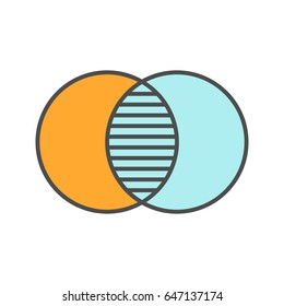 Merging symbol color icon. Cell absorption. Integration abstract metaphor. Isolated vector illustration