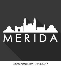Merida Flat Icon Skyline Silhouette Design City Vector Art Famous Buildings