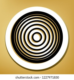 Meridians from top view. Vector. Black icon with light brown shadow in white circle with shaped ring at golden background.