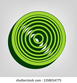 Meridians from top view. Vector. Yellow green solid icon with dark green external body at light colored background.