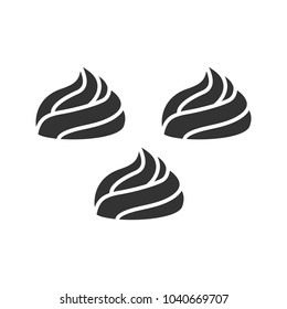 Meringues glyph icon. Marshmallow. Silhouette symbol. Negative space. Vector isolated illustration