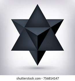 Merkaba, 3d black crystal, dark geometry shape, volume star, mesh form, abstract vector object