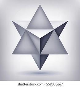 Merkaba, 3d crystal, geometry shape, volume star, mesh version, abstract vector object