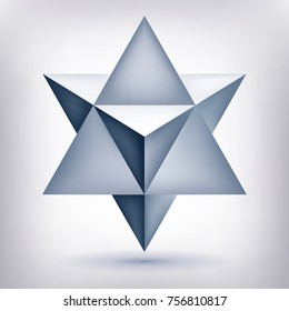 Merkaba, 3d crystal, geometry shape, volume star, mesh form, abstract vector object