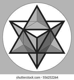 Merkaba, 3d glass crystal, geometry shape, volume star, abstract vector object