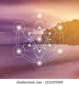 Merkaba sacred geometry spiritual new age futuristic illustration with interlocking circles, triangles and glowing particles in front of blurry natural photographic background