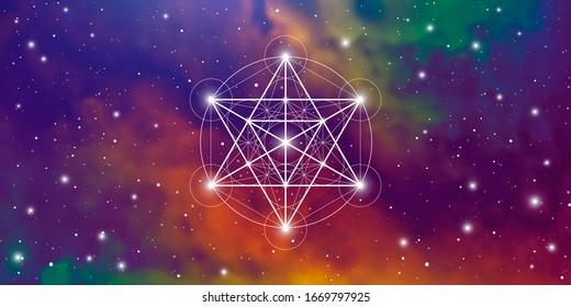 Merkaba heilige Geometrie spirituell neue Zeitalter futuristische Illustration mit transmutation ineinander greifende Kreise, Dreiecke und leuchtende Teilchen vor kosmischem Hintergrund