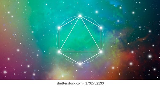 Merkaba sacred geometry spiritual new age futuristic wide banner with transmutation interlocking circles, triangles and glowing particles in front of cosmic background
