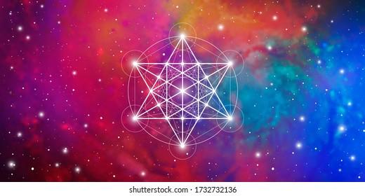 Merkaba heilige Geometrie spirituelle neue Zeitalter futuristischen breiten Banner mit transmutation ineinander greifende Kreise, Dreiecke und leuchtende Teilchen vor kosmischem Hintergrund