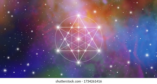 Merkaba sacred geometry spiritual new age futuristic illustration with transmutation interlocking circles, triangles and glowing particles in front of cosmic background
