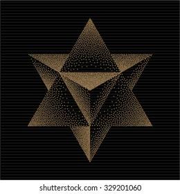 Merkaba or star of David. Mysticism Sacred Geometry Sign. Hipster Style Tattoo Design Element. Vector Dotwork Illustration.