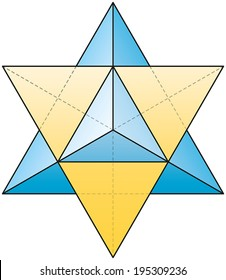 Merkabah - Star Tetrahedron - stellated octahedron as a three-dimensional extension of the Star of David. Also called Mer-Ka-Ba, Merkaba. Vector illustration on white background using transparencies.
