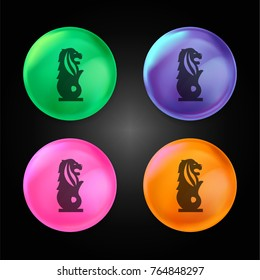 The Merlion crystal ball design icon in green - blue - pink and orange.