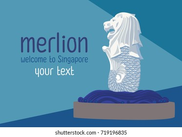 Merlion one of landmark Singapore, vector design