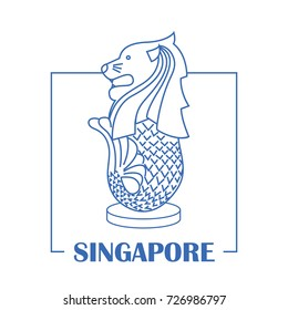 merlion in singapore with line art design. vector illustration