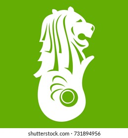 Merlion statue, Singapore icon white isolated on green background. Vector illustration