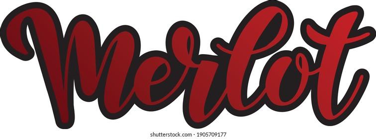 Merlot lettering restaurant wine list menu