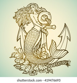 mermaid with anchor and flowers tattoo hand drawn illustration