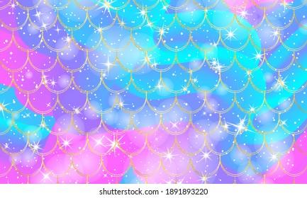 Mermaid background. Holographic rainbow background. Gold scales. Mermaid print.