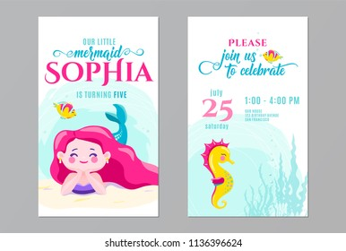 Mermaid birthday cute invite card design. Kids party anniversary. Front and back side. Vector illustration