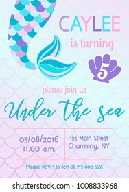 Mermaid birthday invitation. Under the sea theme party. Vector illustration