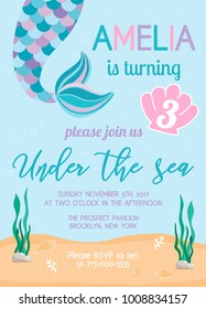 Mermaid birthday invitation. Under the sea theme party. Vector illustration. Background with seashells, seaweed and bubbles