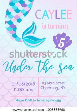 Mermaid Birthday Invitation Under The Sea Theme Party Vector Illustration