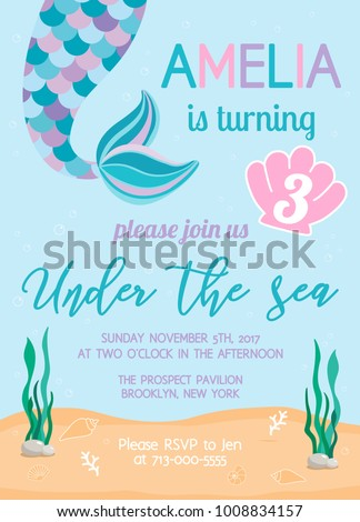Mermaid Birthday Invitation Under The Sea Theme Party Vector Illustration Background With Seashells