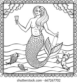 A mermaid with a bottle of wine. Hand drawn illustration in vector. The image can be used for the design of posters, labels of wine products