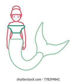 mermaid with  bun hairstyle vector illustration