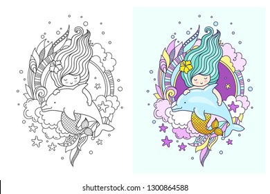 Mermaid with gorgeous long green hair, floating with dolphin. Vector illustration for children book, notebook, print, poster, postcard.